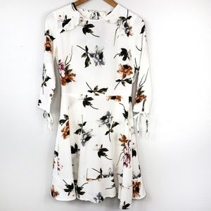 Nasty Gal Elli White A Line Floral Dress NWT